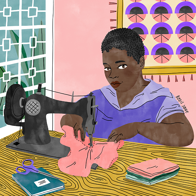 Fatima helps girls stay in school. Illustration by Bodil Jane for UNFPA.
