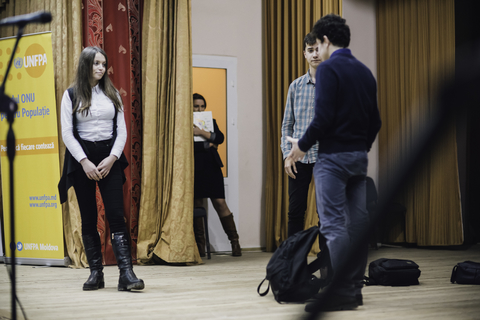 Rehearsal of a social theater play
