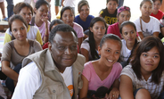 UNFPA Executive Director, Dr. Babatunde Osotimehin with young girls